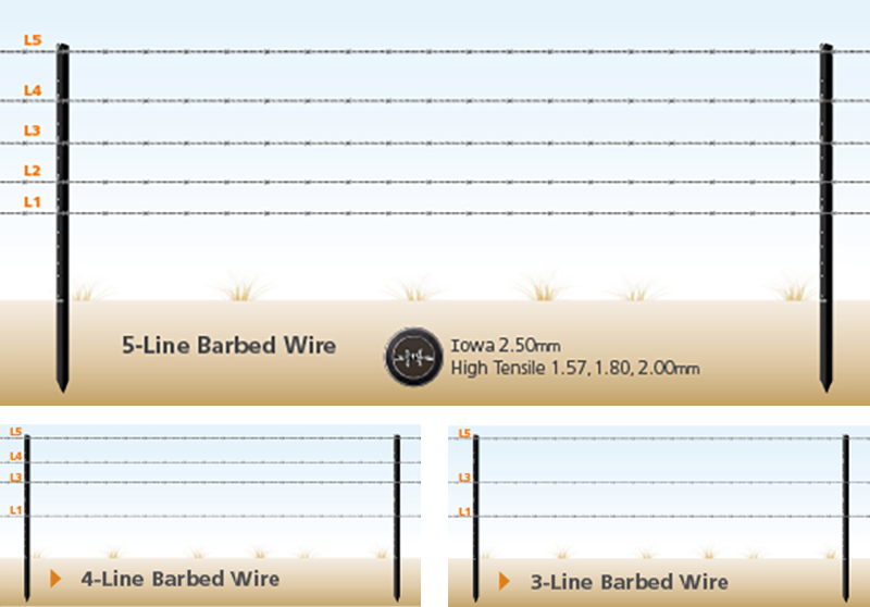 Barbed Wire Fencing using latchpoints